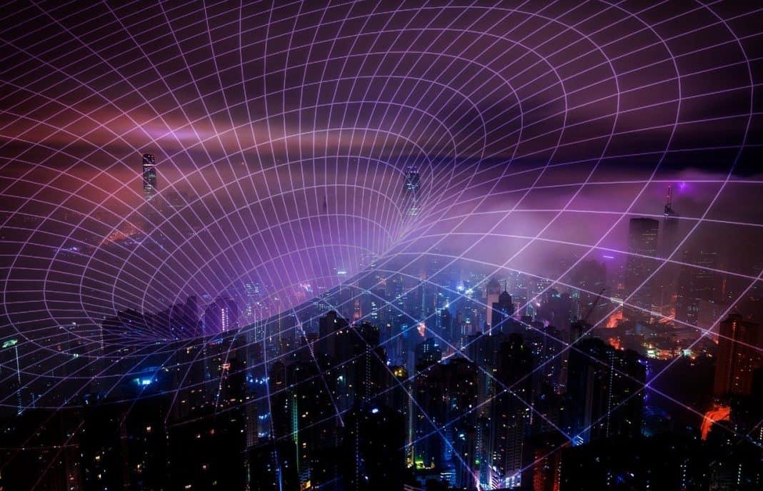 Fotografia de cidade refletindo a iluminação noturna e com arte refletinfo tecnologia e energia