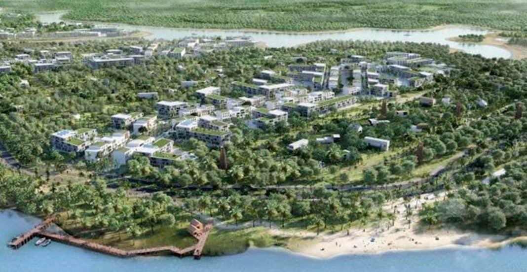 Fotografia de vista aérea do projeto de Aguaduna de cidade inteligente e sustentável no litoral norte da Bahia