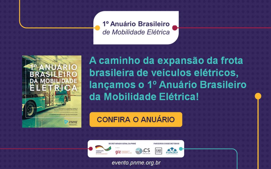 Imagem do lançamento do 1º Anuário Brasileiro da Mobilidade Elétrica da PNME, com a capa do levantamento e comunicação visual sobre