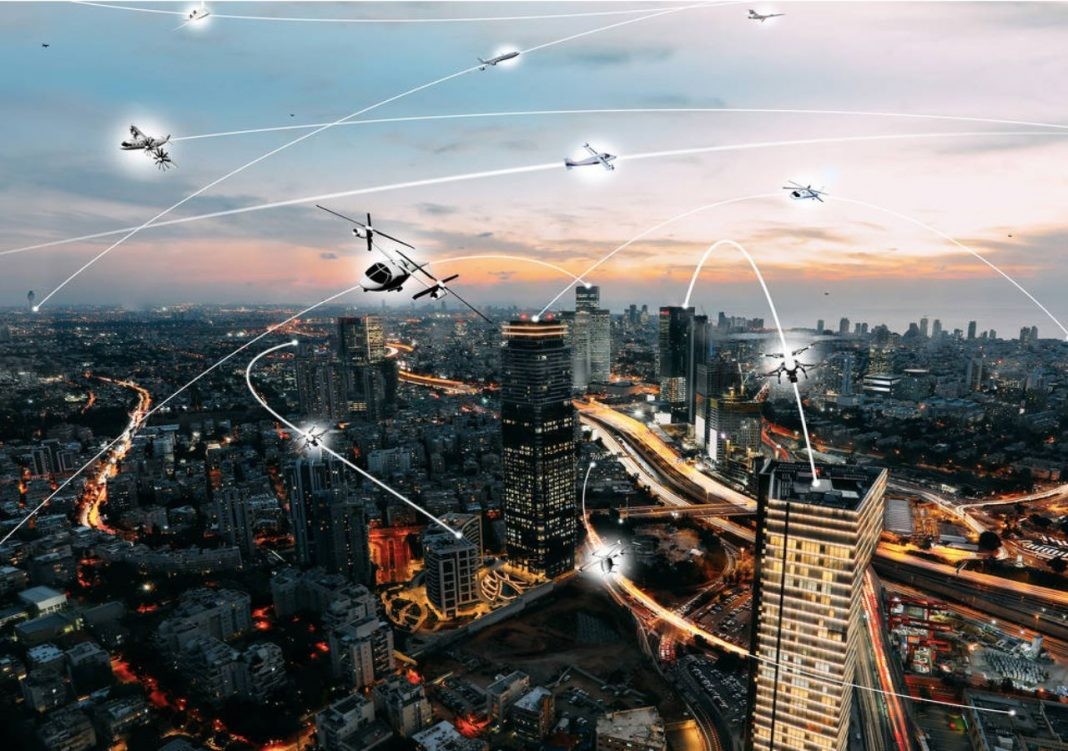 Perspectivas de veículos voadores não tripulados sobrevoando a cidade
