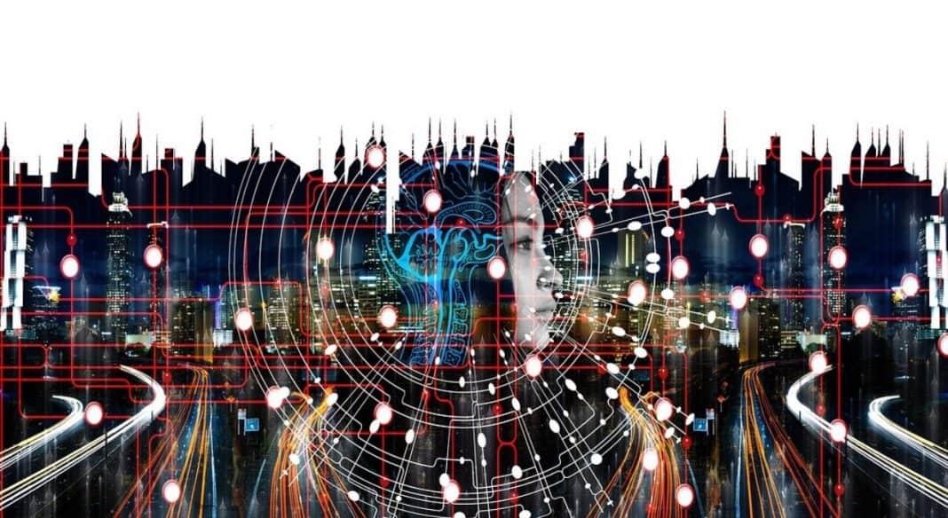 Imagem de transformação digital em cidades, com figura ao centro de uma pessoa ou robô conectando e interligando todas as ferramentas, como mobilidade e iluminação pública, por meio de elementos gráficos coloridos e com predominância do vermelho, laranja, azul e branco