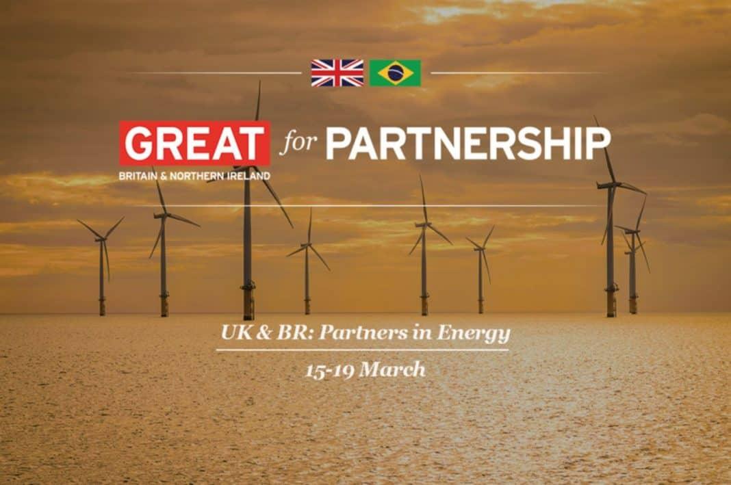 Footgrafia com a comunicação visual da conferência UK & Brazil: Partners in Energy
