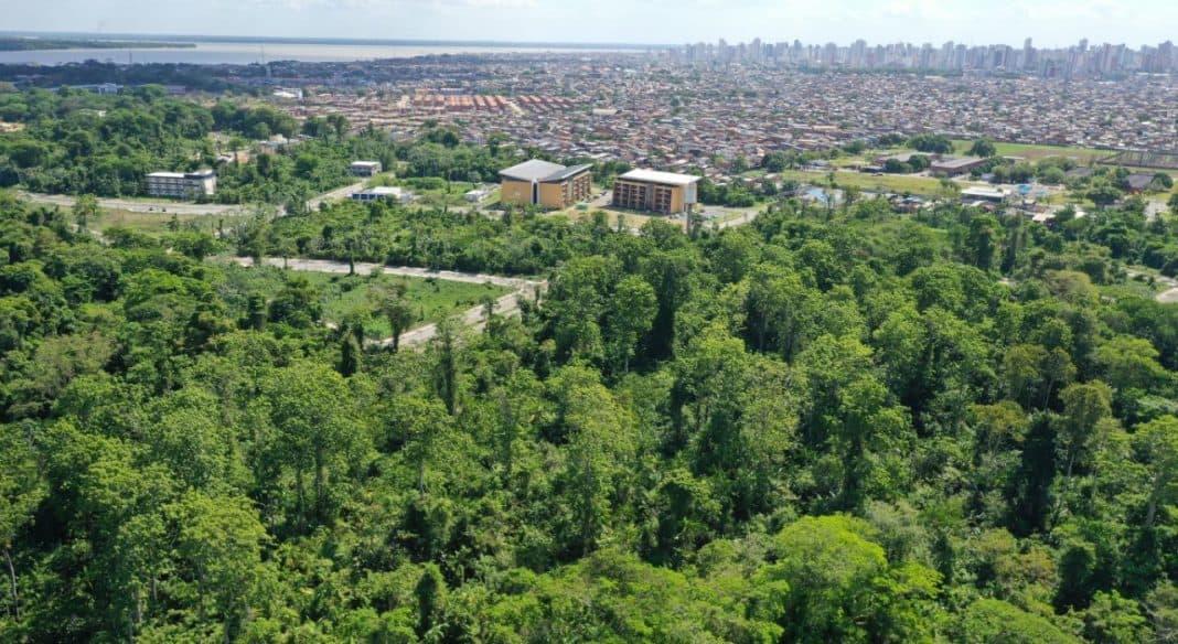 Foto aérea de Belém, capital do Pará. No canto superior, a baía do Guajará, seguida por uma linha de prédios dos bairros nobres, margeada por áreas