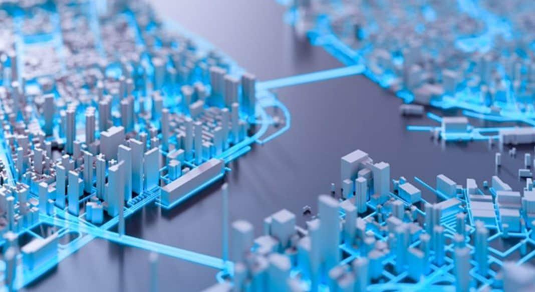 Reprodução de imagem que remete à conectividade e tecnologia das cidades inteligentes, com predominância do azul claro e alguns pontos cinza e branco