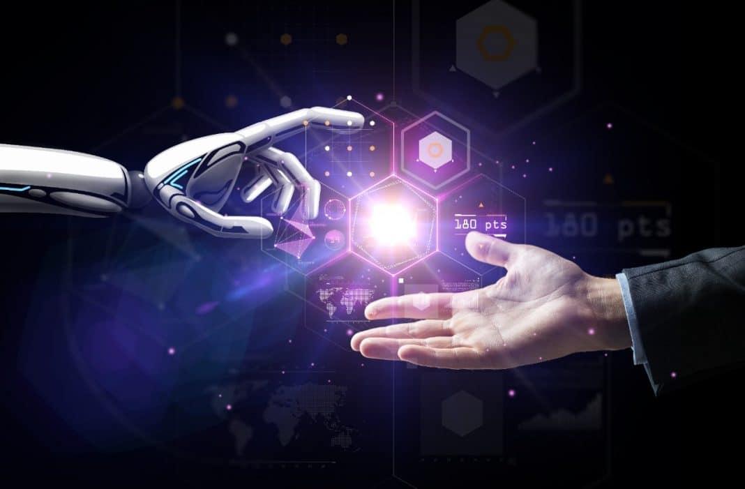 Reprodução gráfica de mão humana e robótica