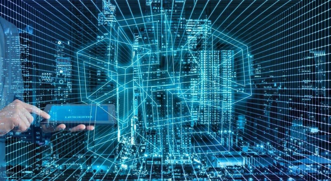 Fotografia de tecnologia 5G em cidades inteligentes