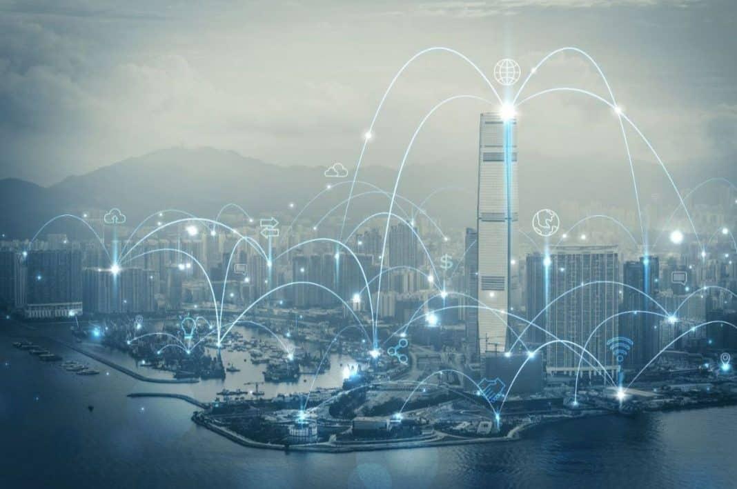 Fotografia de cidade inteligente com aceleração digital