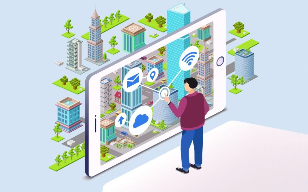 Reprodução de imagem colorida, com fundo claro, de ecossistemas de inovação de cidades inteligentes e conectadas, onde um indivíduo homem toca uma tela grande de celular e se conecta aos vários serviços da cidade